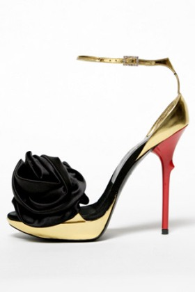 Leather and Satin Rose 'n' Roll sandal by Roger Vivier